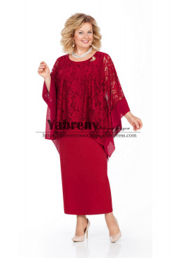 Burgundy Ankle-Length Mother of the bride Dress Plus Size Women's Dress mps-501-3