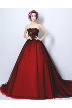 Burgundy Ball Gown Strapless Weding Dresses Sweep Train Quinceanera Dresses TSJY-184