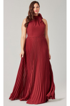 Plus Size Burgundy Bridesmaids Dresses With Accordion Pleats so-277