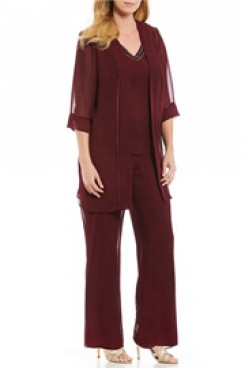 Burgundy  Chiffon Beaded Neck Three pieces Mother of the Bride Pantsuits mps-117