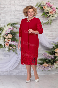 Burgundy Elegant Plus size Women's Dresses,Half Sleeves Mother of The Bride Dresses mps-477-1