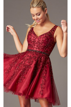 Burgundy Embroidered-Tulle Homecoming Party Dress, Hand Beading Elegant Prom Above Knee Dresses sd-021-1
