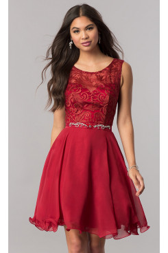 Burgundy Lace-Bodice Chiffon Homecoming Party Dress,Glamorous Above Knee Party Dresses sd-035-1