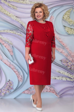 Burgundy Lace Half Sleeves Mother of the Bride Dresses Plus Size Women's Dress mps-467-1