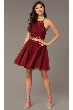 Burgundy Lace Hand Beading Two-Piece Homecoming Dress, A-line Above Knee Graduation Party Dresses sd-033-2