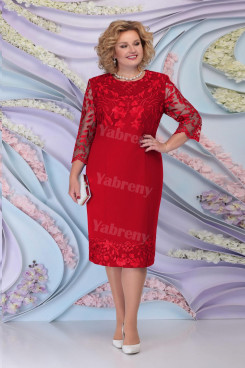 Burgundy Lace Knee-Length Mother of the Bride Dresses Plus Size Women's Dress mps-468-1