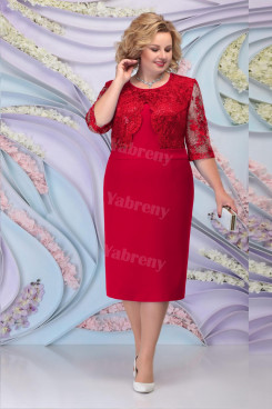 Burgundy Lace Mother of the Groom Dresses Plus Size Half Sleeves Women's Dress mps-466-1