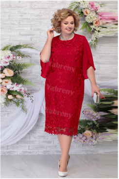 Burgundy Lace Tea-Length Mother of the Groom Dresses Plus Size Women's Dress mps-462-1