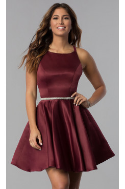 Burgundy Satin Homecoming Dress,Under $100 A-line Short Party Dresses sd-042-3