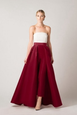 Burgundy Satin prom dress Strapless jumpsuit with skirt vestido de fiesta so-164