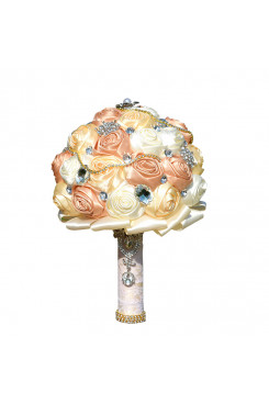 Champagne and ivory Artificial Flowers Rose for Bride Bouquet with preals