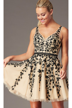 Champagne & Black Lace  Homecoming Party Dress, Hand Beading Prom Above Knee Dresses sd-021-2