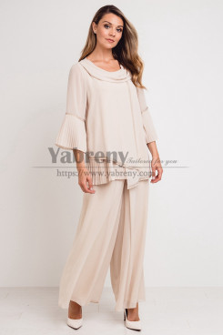 Champagne Chiffon Women's Outfit Mother of the bride Pant suits Dress mps-487