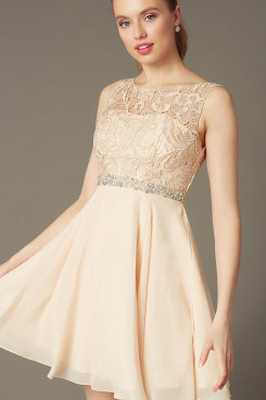 Champagne Graduation Dress, Glamorous Short Party Dress with Glass Drill Belt sd-010-2