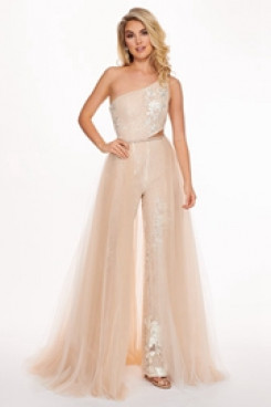 Champagne Sequins Cocktail dress Jumpsuits with detachable skirt traje de fiesta so-167