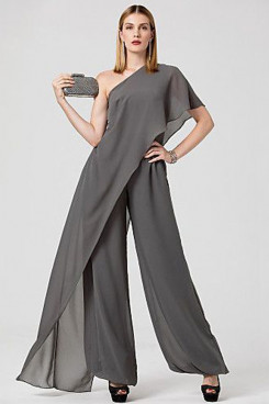 Charcoal chiffon Women's dresses One Shoulder Bridesmaids jumpsuits mps-290