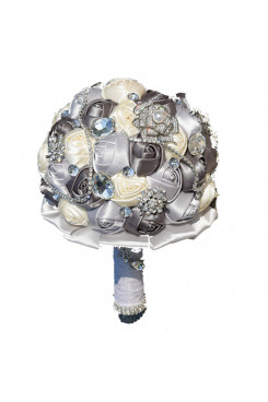 Charcoal Gray and Ivory Artificial Flowers Rose for Bride Bouquet with preals