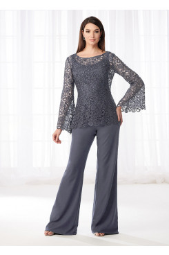 Charcoal Mother of the bride pant suits gray Lace Two piece pants outfit mps-276