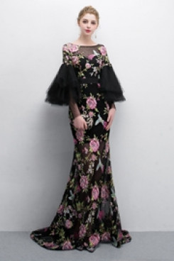 Classic Embroidery Prom dresses With Trumpet sleeve so-012