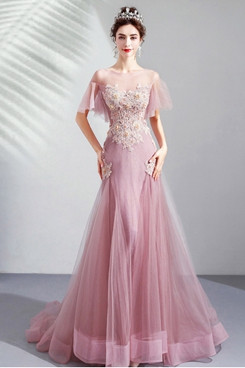 Charming Pearl Pink Prom Dresses Chest Appliques Sweep Train Evening Dresses TSJY-167