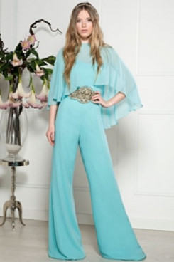 Chiffon Prom Jupmsuit dresswith beaded belt Overlay Top Poncho so-175