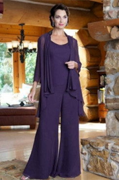 Purple mother of the bride pants suits Chiffon outfit mps-199