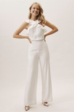 Chiffon Ruffles Bridal Jumpsuits for Beach so-102