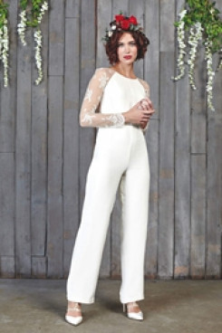Chiffon Wedding  Jumpsuits With lace Sleeves so-111