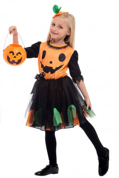 Children Pumpkin Halloween Costume for Girls free shipping