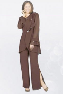 Chocolate Chiffon Three Piece mother of the bride pants sets mps-211