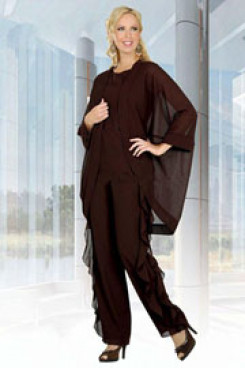 Chocolate Loose mother of the bride pantsuits Unique 3 PC outfit for wedding mps-250