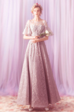 Classic Pink lace Jewel Prom Dresses Elegant Empire Evening Dresses TSJY-125