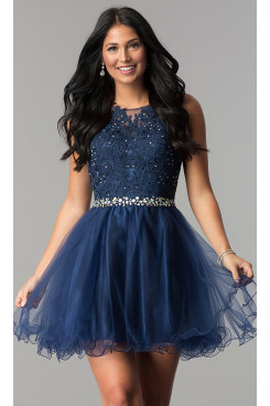 Dark Blue Flare Homecoming Party Dress,Graduation Dresses with Glass Drill Belt sd-022-4