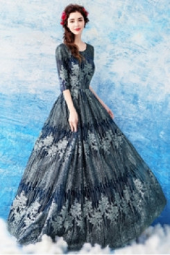 Half Sleeves Empire Prom Dresses A-line Dark Navy Evening Dresses TSJY-142