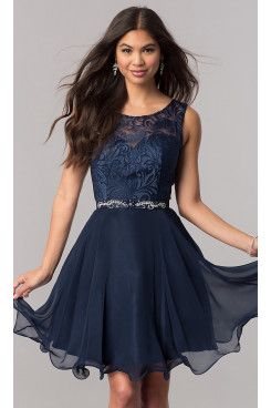 Dark Blue Lace-Bodice Chiffon Homecoming Party Dress,Glamorous Above Knee Party Dresses sd-035-2