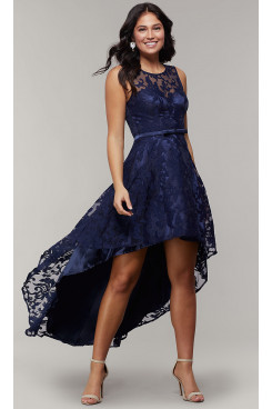Dark Blue Lace High-Low Prom Dress, Front Short Long Back Homecoming Dresses sd-020-3