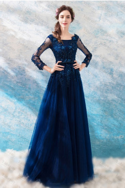 Dark Blue Scoop Prom Dresses Long Sleeves Hand Beading Evening Dresses TSJY-171