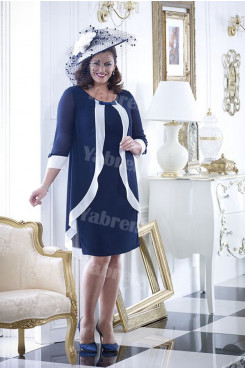 Dark Navy Chiffon Plus size Mother of the bride dress With Sleeves mps-354