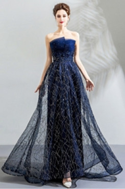 Dark Navy A-line Evening Dresses Strapless Empire Prom Dresses TSJY-138