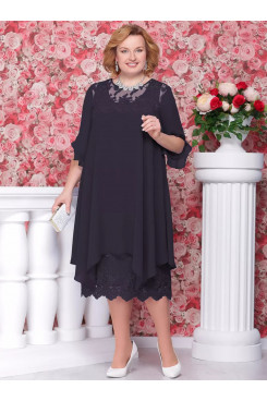 Plus size Dark navy chiffon Mother of the bride dress mps-248