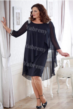 Dark Navy Chiffon Mother of the bride dress Plus size women's outfit mps-357