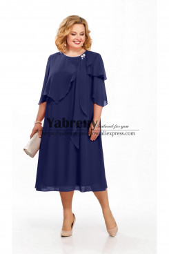 Dark Navy Chiffon Women Dress Comfortable Plus size Mother of the bride Dress mps-505-1