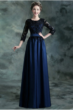 Dark Navy Empire Jewel Prom Dresses Long Sleeves Evening Dresses TSJY-161