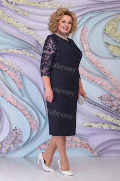 Dark Navy Lace Half Sleeves Mother of the Bride Dresses Plus Size Women's Dress mps-467-2