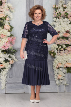 Dark Navy Lace Plus Size Women's Dresses Mermaid Mother of the Bride Dresses mps-456-2