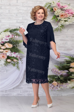 Dark Navy Lace Tea-Length Mother of the Groom Dress Plus Size Women's Dress mps-462-2