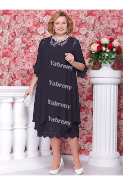 Dark Navy Loose mother of the bride Dresses cheap Mid-Calf Women's Outfits mps-365-2