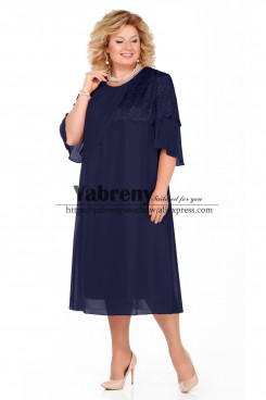 Dark Navy Mid-Calf Plus size Dress, larger size Mother of the Bride Dresses mps-511-2