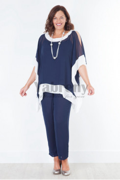 Dark navy Mother of the bride pant suits  New arrival Trousers set mps-042