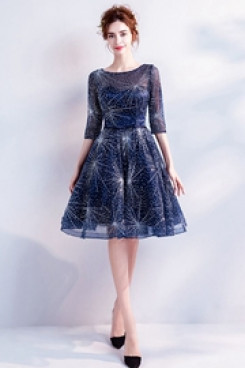 Dark Navy New Arrival Homecoming Dresses Knee-Length Party dresses TSJY-065